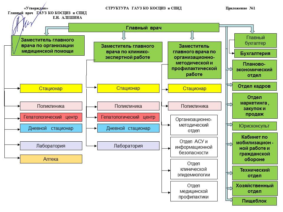 Структура ГАУЗ КО КОСЦИЗ и СПИД